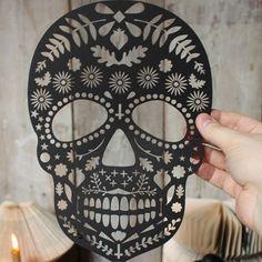 Lasercut Dia De Los Muertos Skull por mrYen en Etsy