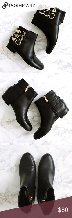 Gold Buckle Black Booties  Gorgeous and almost new condition black booties from DV! Only worn once. Black leather with gold hardware and rubber soles. Perfect dressed up or down for all seasons! Size 6. Make me an offer! Dolce Vita Shoes Ankle Boots & Booties