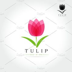 Simple Tulip bud with leaves design Templates Simple Tulip bud with leaves design for logo, emblem or sign on white background Vector illustration by essense