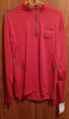 Torsion Hockey Jacket 1/4 Zip Red Adult Ladies Large Dry-Excel Moisture  #Holloway