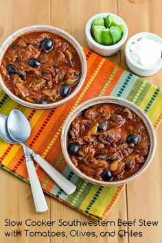 Slow Cooker Southwestern Beef Stew Recipe with Tomatoes, Olives, and Chiles. This recipe is #LowCarb and can easily be #Paleo if you don't serve with sour cream. [from KalynsKitchen.com]