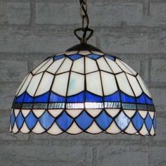Downward Blue Bowl - Iluminación colgante suspendida de 12 pulgadas en estilo Tiffany Stained Glass