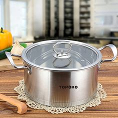 Big SaleTopoko High Quality Stainless Steel 4quart Saucepot  Perfect Family Soup Pot with Tempered Glass Lid Cooking Pot Cookware * More info could be found at the image url.-It is an affiliate link to Amazon.