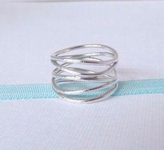 9c2e9e7fc Tiffany & Co Size 6 Silver Elsa Peretti 5 Five Row Wave Wide Ring Band |  eBay