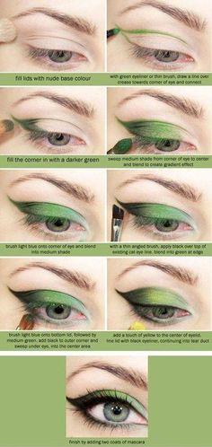 Green Eyeshadow Tutorial for Blue Eyes | 12 Colorful Eyeshadow Tutorials For Blue Eyes by makeup Tutorials at http://makeuptutorials.com/12-colorful-eyeshadow-tutorials-blue-eyes/