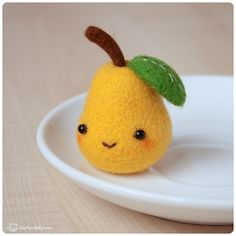 Pear by Katy-Doll on DeviantArt - Cute Crafts, Felt Crafts, Diy And Crafts, Needle Felted Animals, Felt Animals, Crochet Kawaii, Felt Fruit, Needle Felting Tutorials, Idee Diy