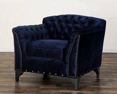 TOV Furniture Waterford Navy Velvet Club Chair