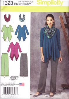 Simplicity Sewing Pattern 1323, Misses Knit Tunics & Trousers & Infinity Scarf