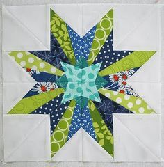 This is from Freshly Pieced; the book where she found this is 50 Fabulous Paper Pieced Stars. paper piecing is great. Modern Quilt Patterns, Paper Piecing Patterns, Quilt Block Patterns, Star Quilt Blocks, Star Quilts, Mini Quilts, Block Quilt, Patch Quilt, Quilting Projects