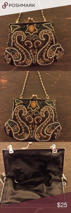 Vintage Evening Bag Swanky, Vintage Evening Bag. Adds sparkle and style to any ensemble. Black satin with classic amber, white, gold and silver beading. Dainty silver wrist chain and silver snap closure. Bags Clutches & Wristlets