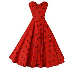 Vintage 1950's Red Black Flocked Poodle Strapless Cocktail Dress