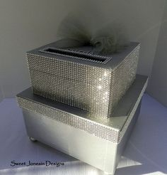bling card box | ... ://www.etsy.com/listing/128178386/silver-wedding-card-box-bling-mesh