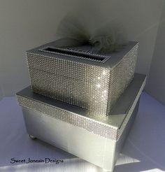 Silver Bling Wedding Card Box Diamond Mesh Ribbon by SweetJonesin Wedding Gift Card Box, Gift Card Boxes, Wedding Boxes, Wedding Cards, Wedding Ideas, 25th Wedding Anniversary, Silver Anniversary, Anniversary Parties, Anniversary Ideas