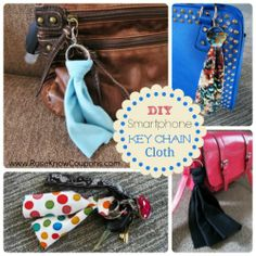 DIY Smartphone Key Chain Cloth - Neat idea.  I am always looking for a corner of my blouse to use to wipe off my i-phone.
