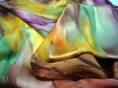 Scarf Silk Hand Dyed Fall Autumn Leaves Silk Scarf by MommaGoddess, $30.00