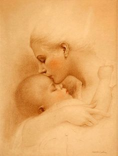Mother & Infant most tender moment {not the actual title of artwork} by Charles Gates Sheldon, artist Mother Art, Mother And Baby, Painting For Kids, Art For Kids, Mother And Child Painting, Rolf Armstrong, Pin Up, Gil Elvgren, Madonna And Child