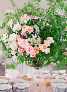 Full centerpiece: http://www.stylemepretty.com/2015/03/13/elegant-charleston-spring-wedding-at-hibernian-hall/   Photography: Corbin Gurkin - http://corbingurkin.com/