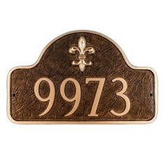Montague Metal Products Petite Fleur de Lis One Line Arch Address Plaque Finish: Aged Bronze / Gold, Mounting: Lawn