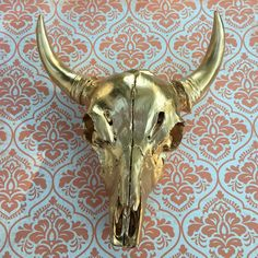 Gorgeous gold cow skull by MGreenhalghDesigns on Etsy https://www.etsy.com/listing/252456883/gorgeous-gold-cow-skull