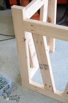 Back of desk desk plans DIY Truss Desk - Free Plans Woodworking Desk Plans, Awesome Woodworking Ideas, Woodworking Projects That Sell, Woodworking Joints, Woodworking Furniture, Woodworking Techniques, Wood Shop Projects, Furniture Projects, Diy Furniture