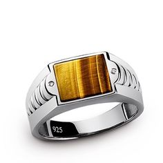 NEW Genuine Tiger's Eye and Diamonds Solid 925 Sterling Silver MENS RING all Sz #Handmade #Cluster