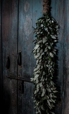 quenalbertini: Wreath on a blue-gray door Outdoor Christmas Decorations, Rustic Christmas, Christmas Wreaths, Natural Living, Winter Looks, Victorian Goth, Front Door Decor, Wabi Sabi, Modern Rustic
