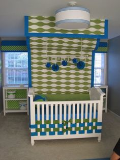 If I have another little one, I think I'm doing something like this in it's room!  I like these colors for a boy, but for a girl, maybe pink and orange?!?!?