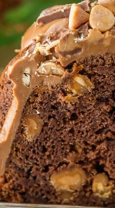 Chocolate Peanut Butter Cup Pound Cake ~ The ultimate bundt cake recipe... Topped with a decadent peanut butter icing.