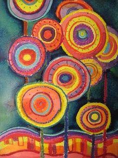 Hundertwasser, Circles < reminds me of living in Austria kandinsky fine motor circles Wal Art, 2nd Grade Art, Ecole Art, Circle Art, Art Graphique, Art Lesson Plans, Art Classroom, Art Club, Art Plastique
