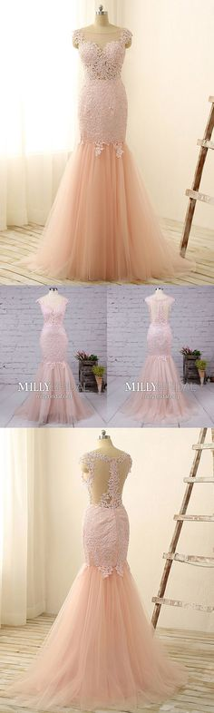 Pink Prom Dresses Long,Modest Prom Dresses Mermaid,Lace Prom Dresses with Cap Sleeves,Elegant Prom Dresses Sleeveless
