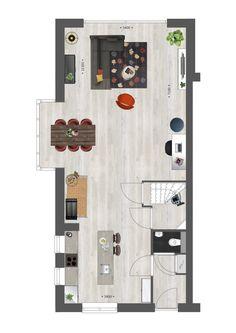 Indeling van een hoekwoning met erker en kookeiland #vanwanrooij #nieuwbouw #inspiratie Best Modern House Design, Small House Plans, Sims, Architecture Design, Floor Plans, Living Room, Holiday Decor, Interior, Projects