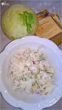 Surówka z kalarepy z rzodkiewką i ziołami (3) Risotto, Cabbage, Grains, Salads, Rice, Vegetables, Cooking, Ethnic Recipes, Food
