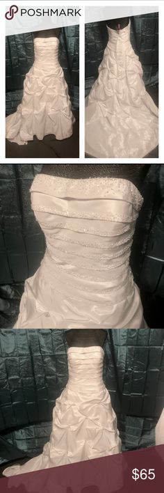 Strapless white Wedding Gown Sz 10 Beautiful strapless white gown sparkly beading.  Sz 10 approximate measurements 35bust. 30waist 37hip original price $950. Sample gown. Has a couple loose beads in the back showing on the last photo and one small area on a side steam that might need reinforced due to being tried on so shown in photo Dresses Wedding