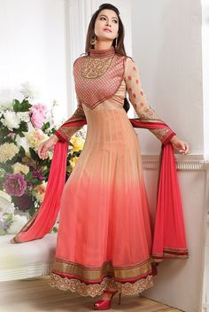 Peerless Peach and Coral Pink #Anarkali #Suit
