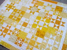 Random Ohio Stars Quilt by Fancy Me.   Make this in red, grey and cream for winter/holiday quilt.