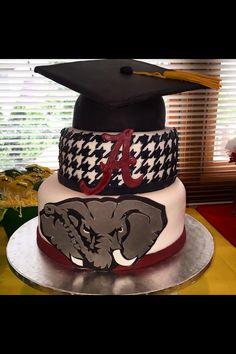 University of Alabama Graduation Cake College Graduation Parties, Graduation Celebration, Grad Parties, Celebration Cakes, Graduation Cake, Alabama Cakes, Sport Cakes, Sweet Home Alabama, University Of Alabama
