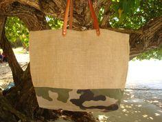 Sac caba toile de jute série camouflage - anses en cuir véritable : Sacs à main par cababeach