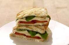 Vegan Grilled Tomato, Basil & Pepper Jack Panini | This tasty sandwich is perfect for both Meatless Monday and Earth Day, which is today! Eating a plant-based diet is a great way to reduce your carbon footprint and it's a healthier way of living. Try this scrumptious Italian-style vegan sandwich!