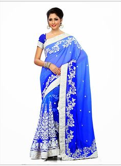 Wonderful Embroidered Pallu Saree in Azure Blue & Blue Color - NCMB076901A7B | Indian Trendz