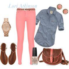 Chambray and Pink by lori-atkinson on Polyvore