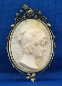 Art Nouveau Ivory Carved Cameo of Woman w/ Silver Mount