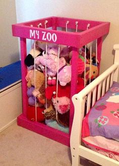 cool stuffed animal zoo - my zoo - stuffed animal storage - zoo for stuffed animals - kids room decor - toy organization - TOY BOX - christmas by http://www.top-100-home-decor-pics.website/girl-room-decor/stuffed-animal-zoo-my-zoo-stuffed-animal-storage-zoo-for-stuffed-animals-kids-room-decor-toy-organization-toy-box-christmas/