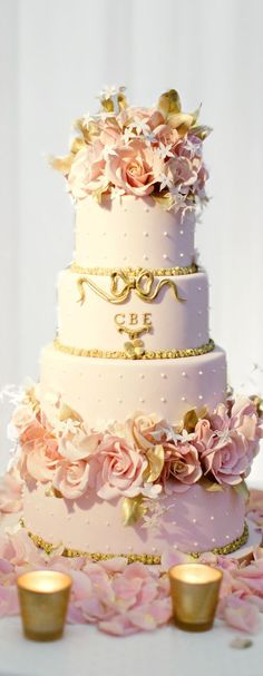 Old School Hollywood Glamour: The Breathtaking Wedding of Charlotte and Teddy Wedding Inspiration from Emma Hunt London X. Beautiful Wedding Cakes, Gorgeous Cakes, Pretty Cakes, Amazing Cakes, Cupcakes, Cupcake Cakes, Pink And Gold Wedding, Pink Wedding Cakes, Old Rose Wedding Theme