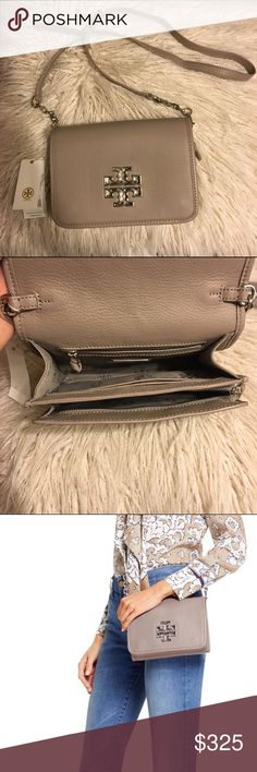 """Tory Burch Britten Combo Crossbody NWT Tory Burch Britten Combo Crossbody! Color is French gray! 100% authentic  The design can be worn over the shoulder or across the body or carried as a clutch.  Pebbled leather Flap with magnetic snap closure Flat leather-and-chain adjustable, removable cross-body strap 1 interior zipper pocket,2 interior open pockets Height: 5.98""""  Length: 8.37""""  Depth: 2.51""""  🚫No trades 🚫No lowballing ✅Bundle Discount 💯 Authentic items  ✨purchase at listed price get…"""