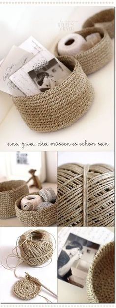 DIY - Crochet storage bowls from packing twine -- first I need to learn to crochet. Crochet Diy, Crochet Storage, Crochet Home, Learn To Crochet, Crochet Crafts, Yarn Crafts, Crochet Bags, Diy Crafts, Crochet Baskets