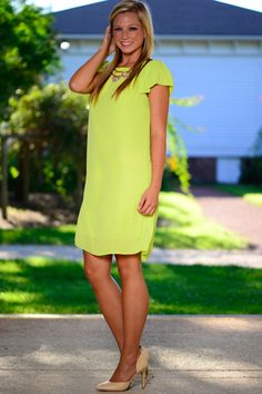 Sweet And Solid Dress, Lime