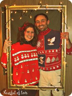 50 Ugly Christmas Sweater Party Ideas - Oh My Creative- cute frame