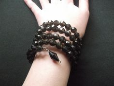Black Beaded WireCoiled Bracelet Handmade by gabriellesgifts, £6.00
