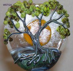 WSTGA~LIVING IN THE LIGHT~TREE handmade lampwork glass bead focal SRA