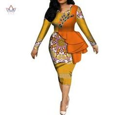 afrikanischer druck Fashion 2019 spring Africa Dresses for women vestidos Print Fabric Elegant Africa Clothes Ruffles African Clothing BRW Latest African Fashion Dresses, African Dresses For Women, African Print Dresses, African Print Fashion, African Attire, African Wear, Women's Fashion Dresses, African Dashiki, African Lace